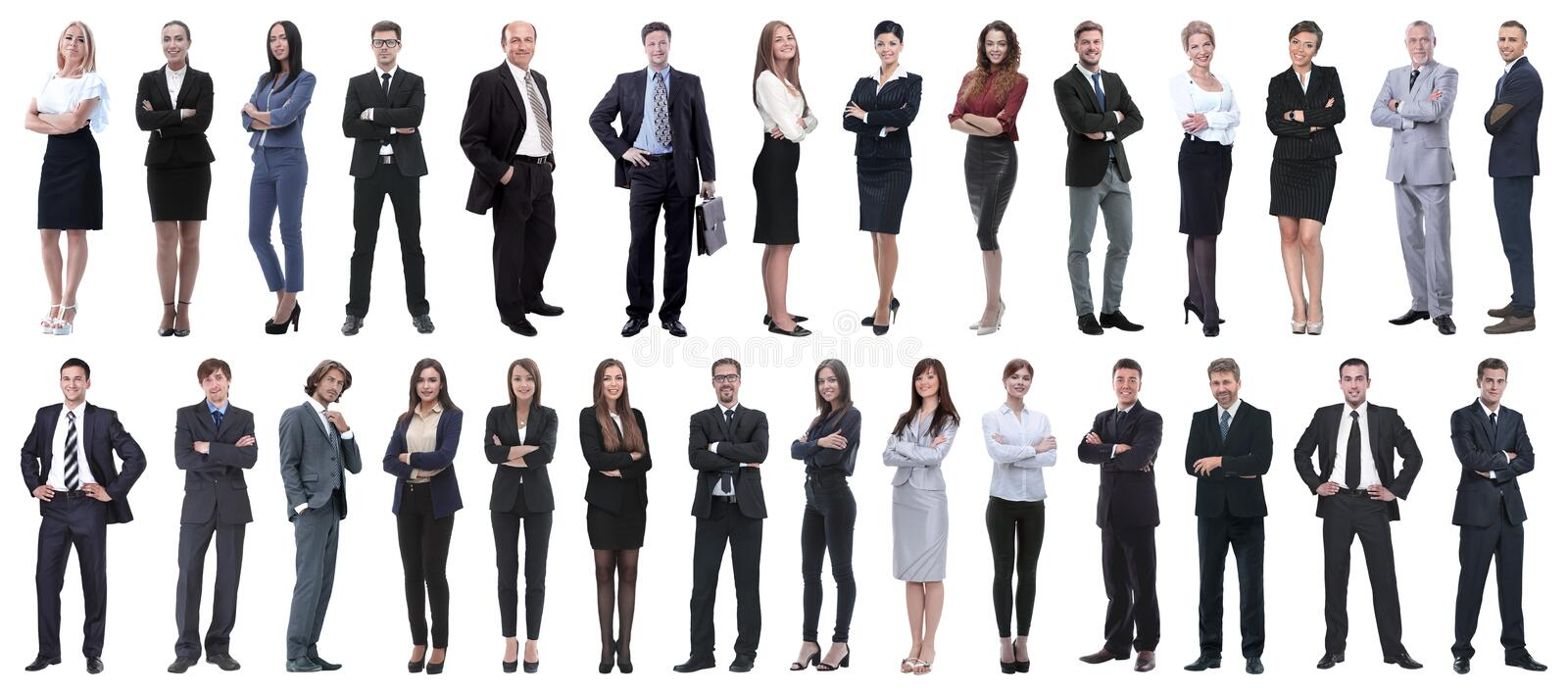 Successful business people isolated on white background stock photos