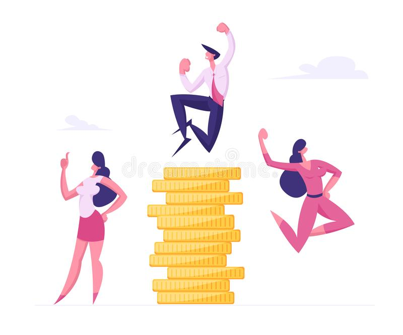 Successful Business People Rejoice and Crying Yeah at Huge Stack of Gold Coins. Financial Profit Salary Money Wealth stock illustration
