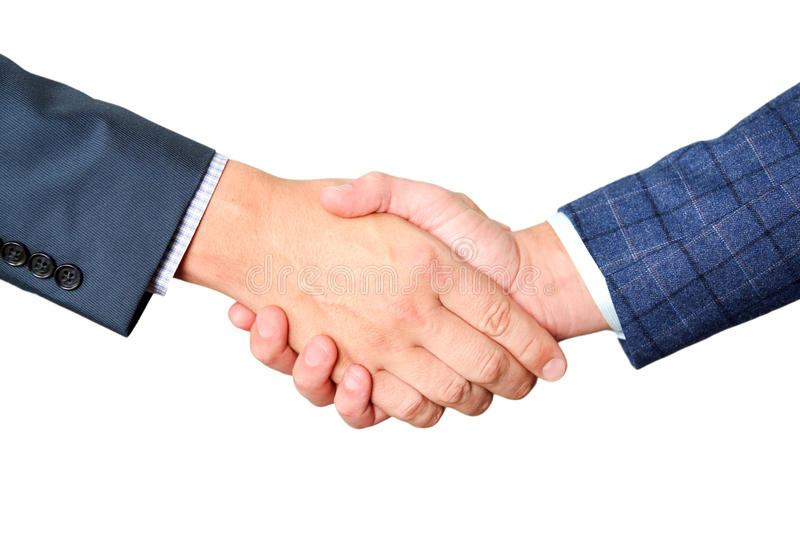 Successful business people shaking hands on a white background stock images