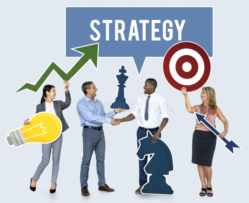 Successful business people with strategic plans stock photography