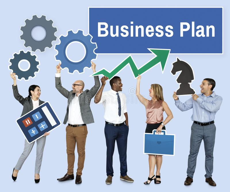 Successful business people with strategic plans stock image