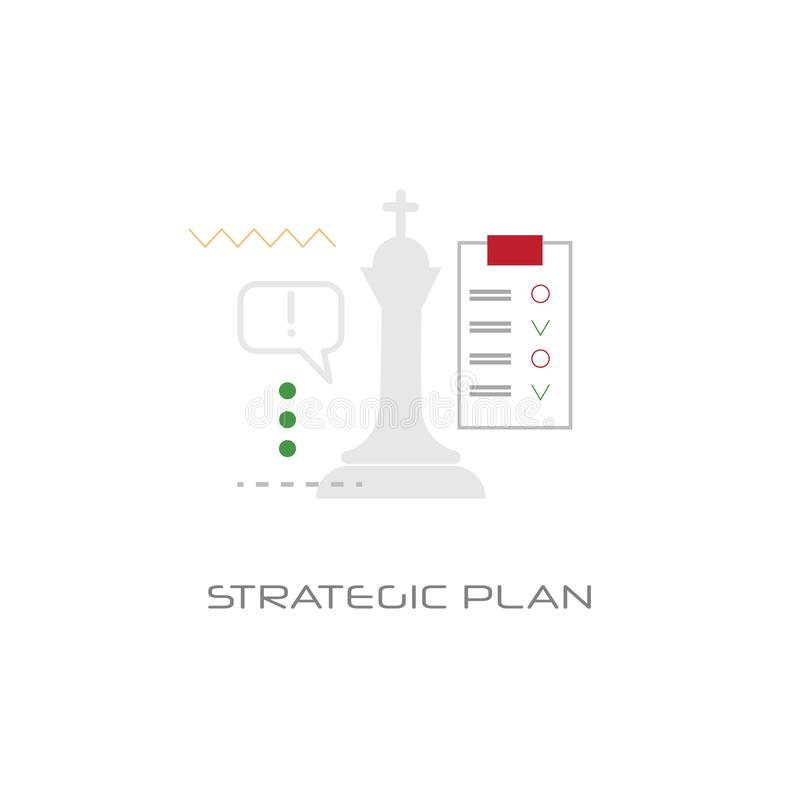 Successful business planning future strategic plan concept line style isolated. Vector illustration stock illustration