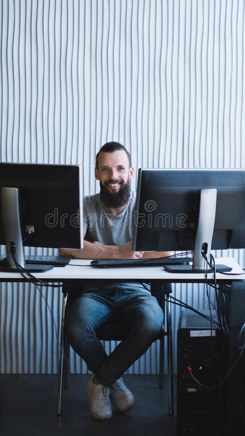 Successful business project happy male engineer royalty free stock images
