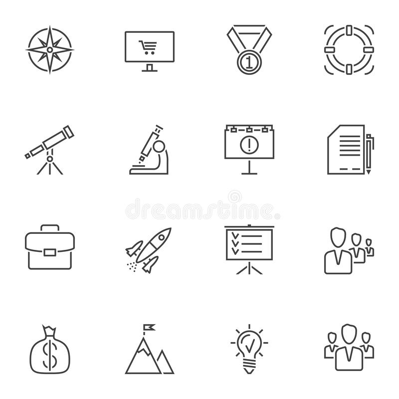 Successful business startup line icons set. Linear style symbols collection, outline signs pack. vector graphics. Set includes icons as medal, target, teamwork vector illustration