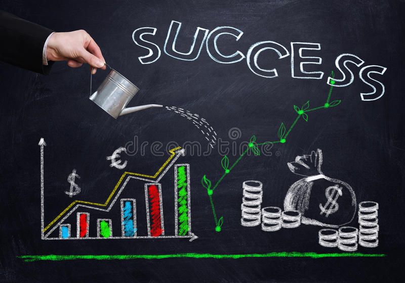 Successful business strategy. Mixed media royalty free stock photo