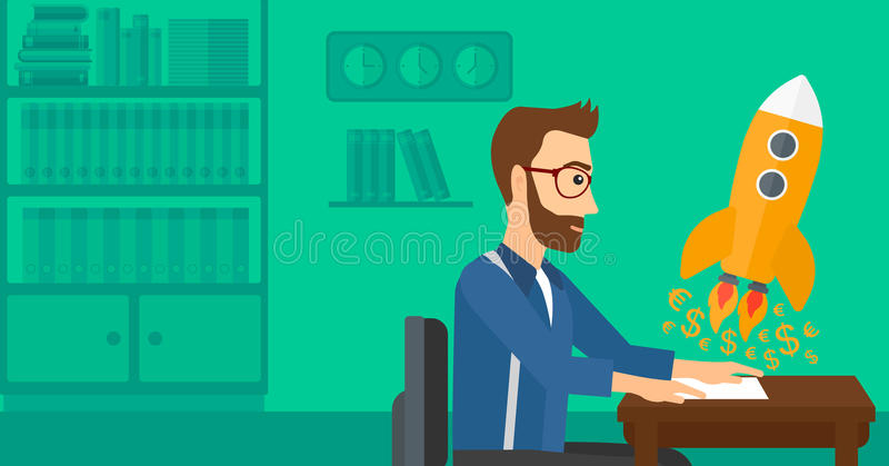 Successful business sturt up. A hipster man with the beard sitting at the table and looking at a rocket with money taking off the paper on the background of stock illustration