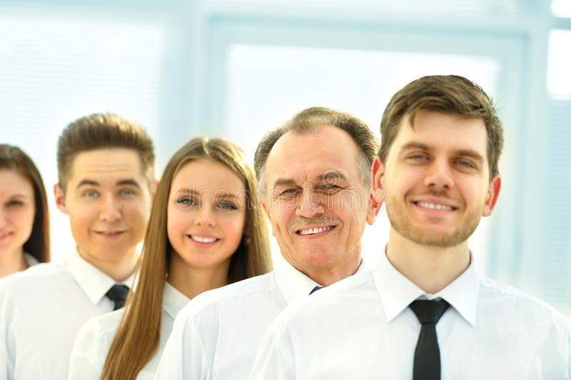 successful business team on a background of bright, modern office royalty free stock photography