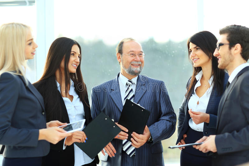 Successful business team with documents in office royalty free stock images