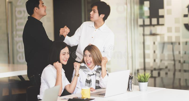 Successful business team get excited stock photo