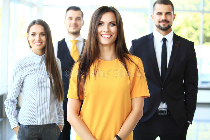 Successful business team smiling royalty free stock photos