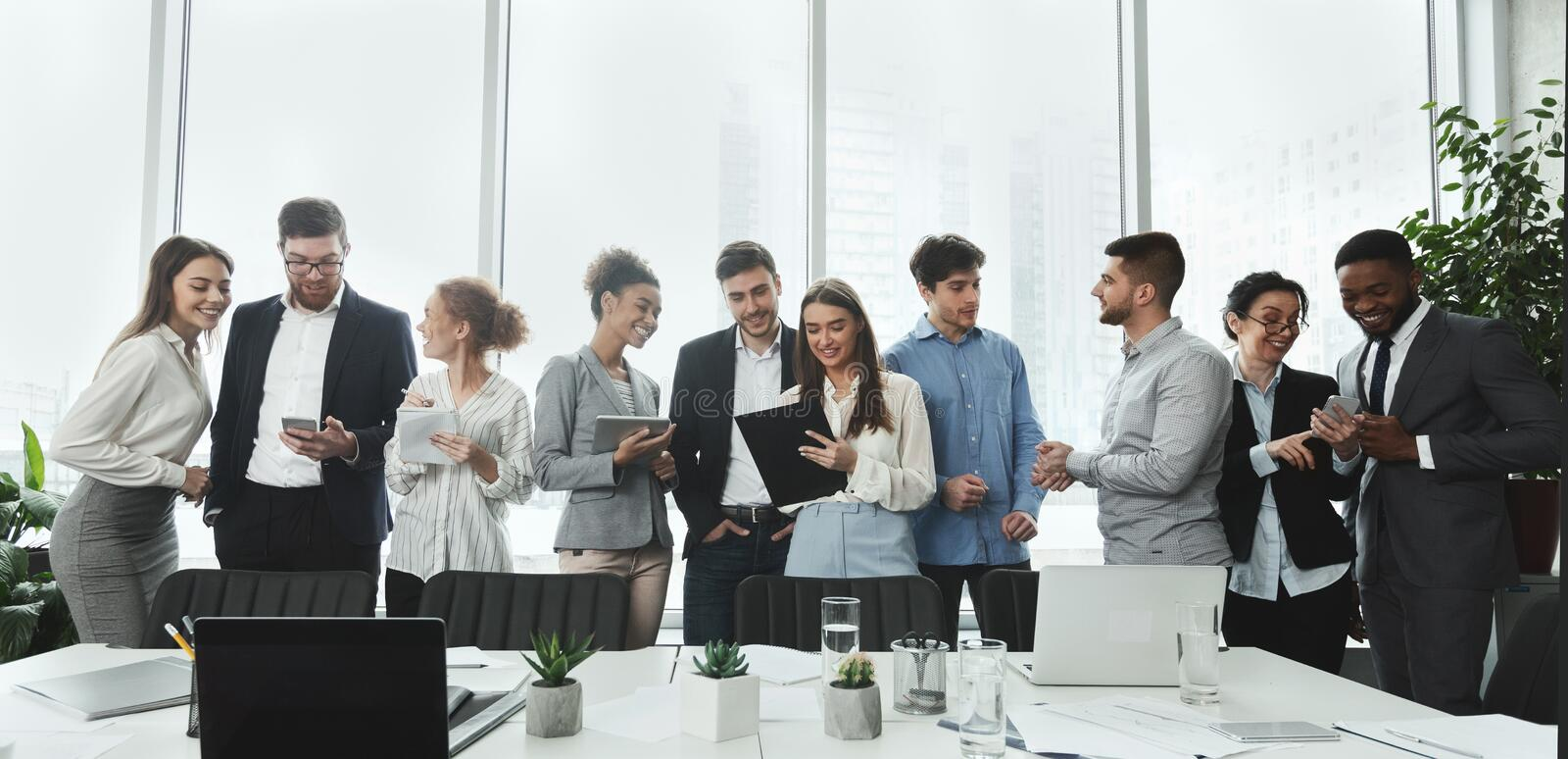 Successful business team talking in conference room royalty free stock photo