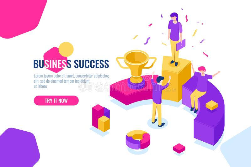 Successful business team work isometric, people achieve success, triumph, leader and leadership concept. Flat color stock illustration