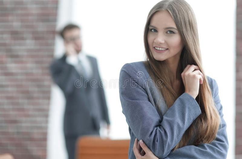 Successful business woman on blurred background office stock photo