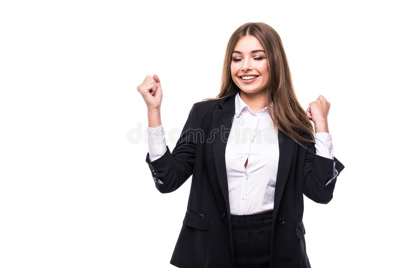 Successful business woman celebrating with arms up isolated on white background stock photos
