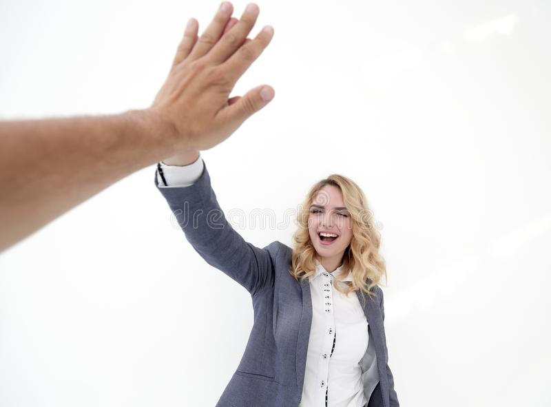 Successful business woman giving a high five stock image image of download successful business woman giving a high five stock image image of partnership greeting m4hsunfo