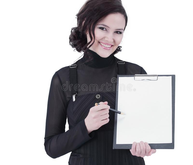 Successful business woman holding blank sheet .isolated on white. Photo with copy space stock image