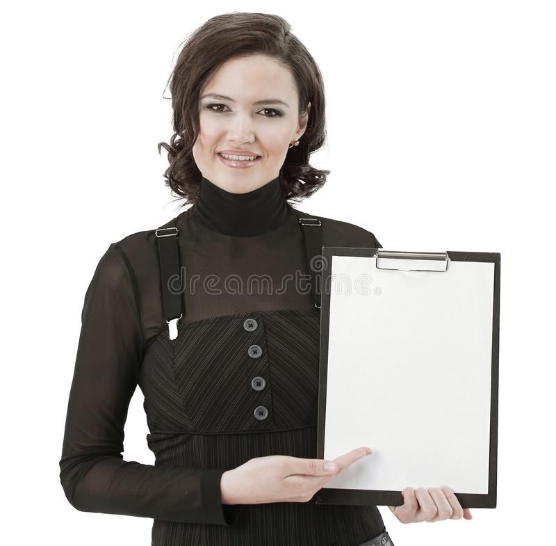 Successful business woman holding blank sheet .isolated on white. Photo with copy space royalty free stock image