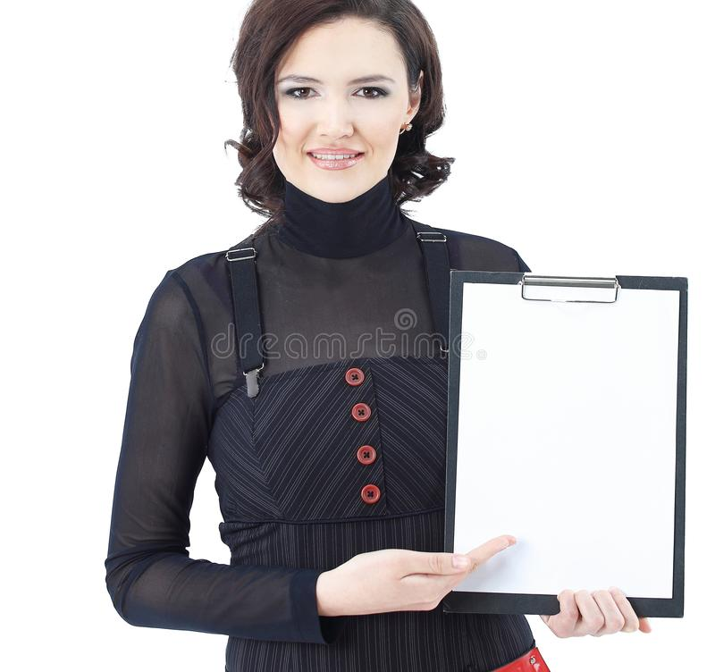 Successful business woman holding blank sheet .isolated on white. Photo with copy space royalty free stock photos