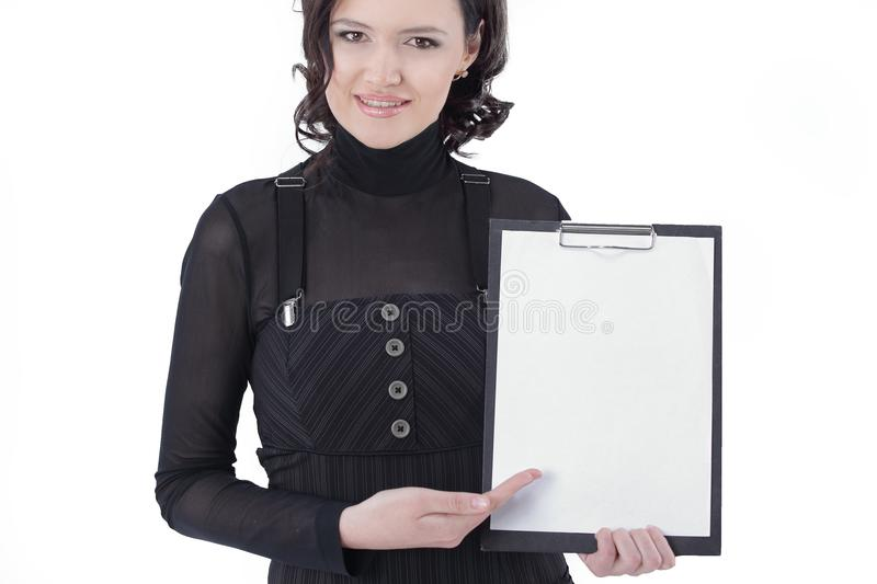 Successful business woman holding blank sheet .isolated on white. Photo with copy space royalty free stock photography