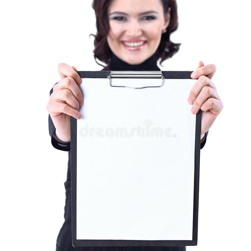 Successful business woman holding blank sheet .isolated on white. Photo with copy space stock photo