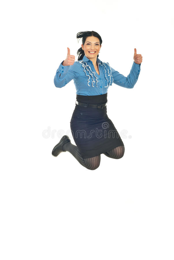 Successful Business Woman Jumping Stock Images