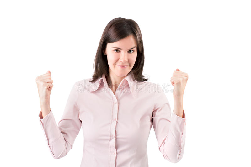Successful business woman looking very excited. stock image