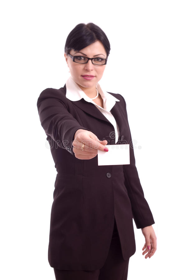Successful business woman showing blank card