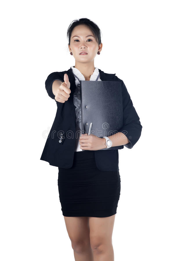 Download Successful Business Woman Showing Thumbs Up Sign, Holding Black Stock Image - Image: 28513071