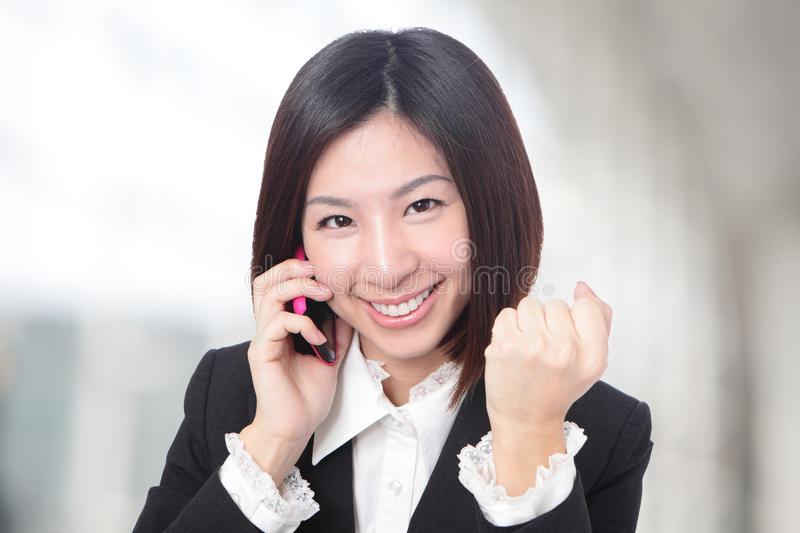 Successful business woman smile face. At office, model is a asian beauty stock photo