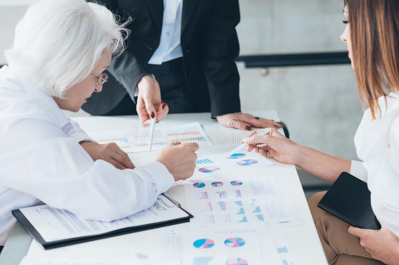 Successful business women strategy brainstorming stock image