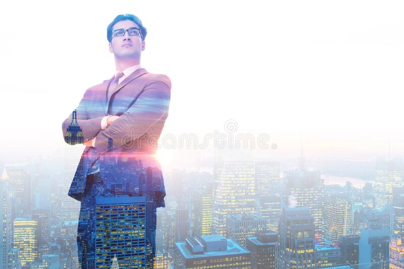 Successful businessman against cityscape in business concept royalty free stock photography