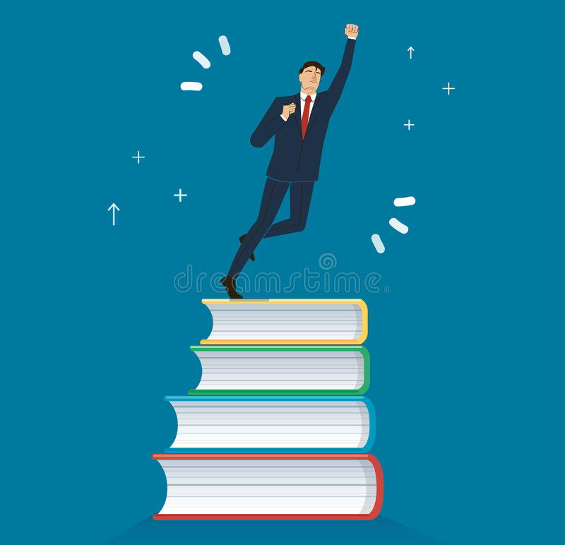 Successful businessman on books icon design vector illustration, education concepts. EPS10 royalty free illustration