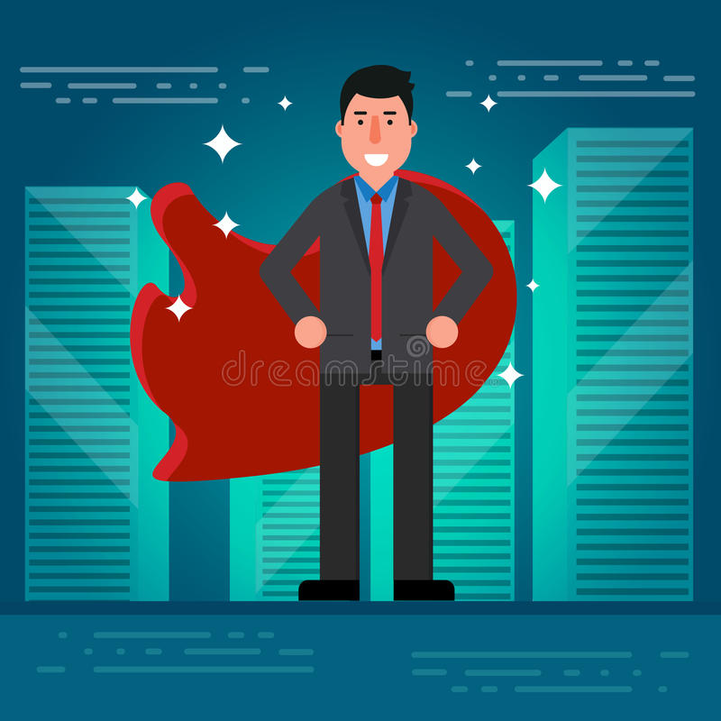 Successful businessman or broker in suit and red cape on city roof background. Vector illustration of superhero as concept of bus. Iness success. Leadership royalty free illustration