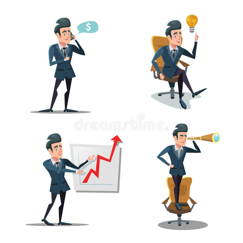 Successful Businessman Cartoons. Business Innovation. Man with Telephone. Planning royalty free illustration