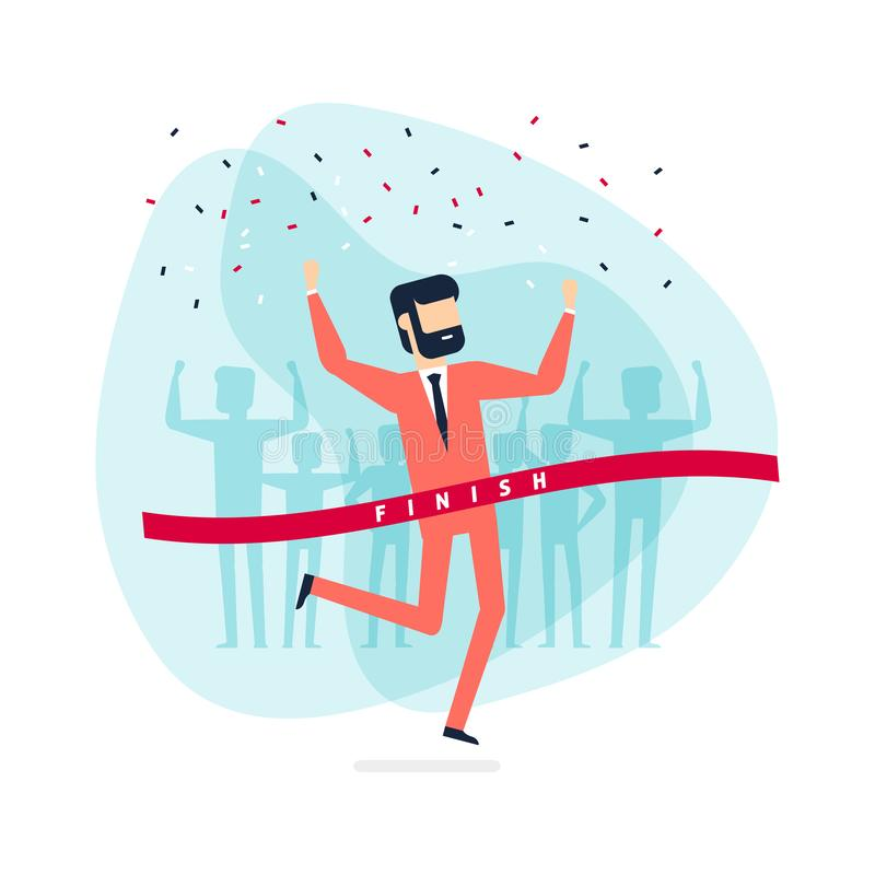 Successful businessman celebrating victory. Jumping man crossing the finishing line. royalty free illustration