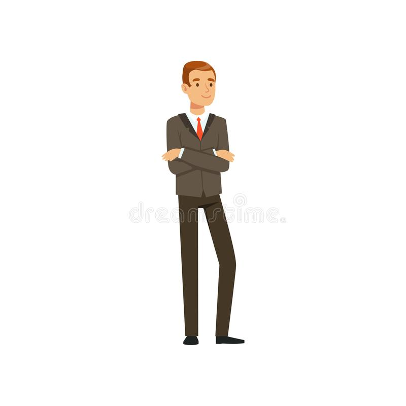 Successful businessman character in suit standing with crossed arms vector Illustration royalty free illustration