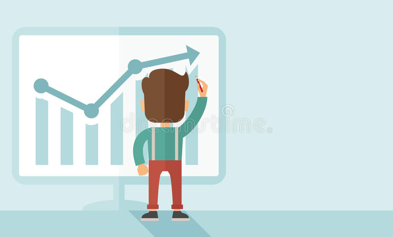 Successful businessman with a chart going up. A Caucasian businessman facing backward standing infront of his chart holding a pen illustrating his marketing vector illustration