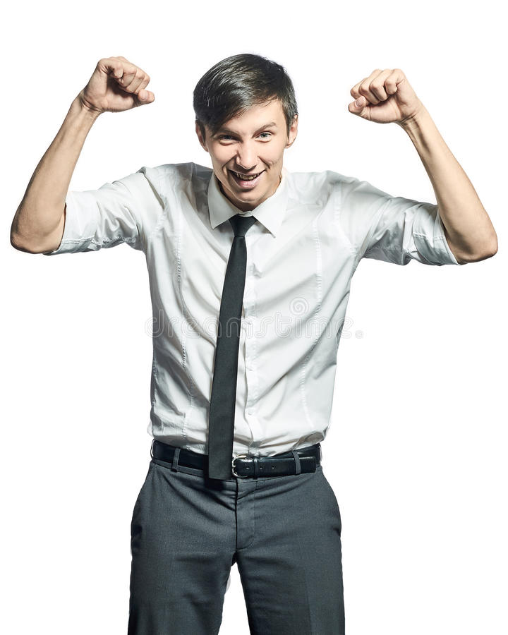 Successful businessman doing victory gesture royalty free stock images