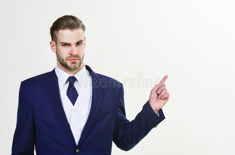 Successful businessman get ready for conference. Serious motivated focused entrepreneur. Businessman concept. Confident royalty free stock images