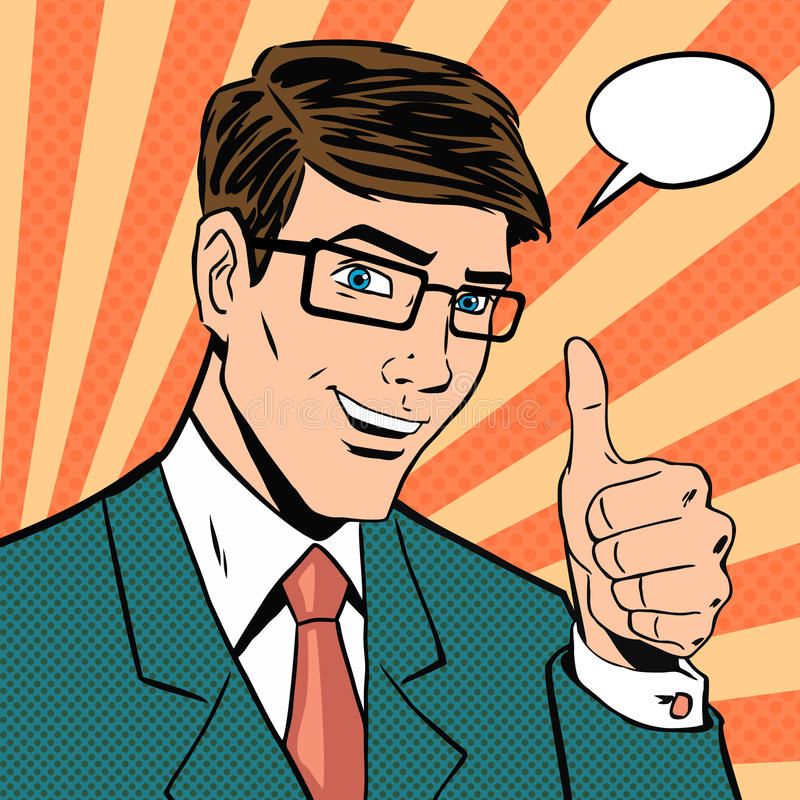 Successful businessman gives thumb royalty free illustration