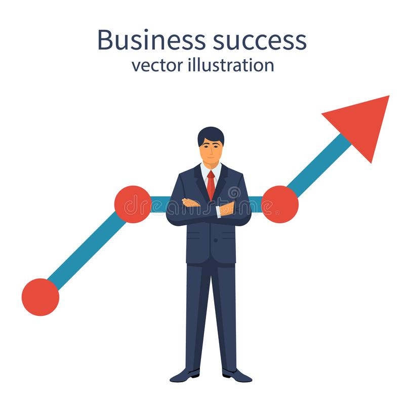 Successful businessman growing graphic vector illustration