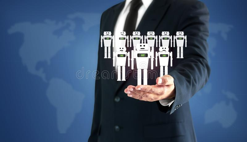 Successful businessman hand touch virtual robot AI represents a substitute for human work.  royalty free stock image