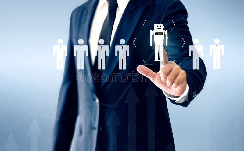 Successful businessman hand touch virtual robot AI represents a substitute for human work.  stock image