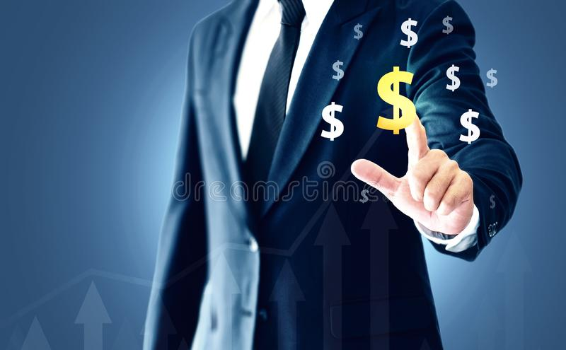 A successful businessman, hands touch the graph that represents profit rises on a lot more royalty free stock images