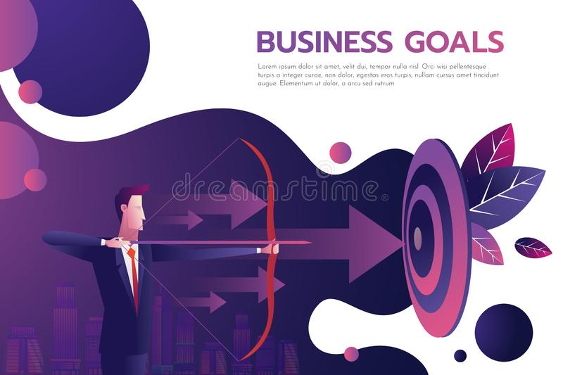 Successful businessman hold arrow in hand, achievement goal. Aim in business concept. Target isolated background. Vector vector illustration
