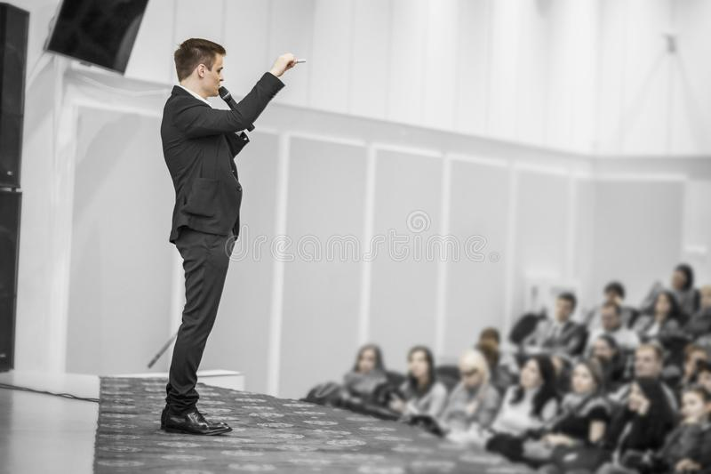Successful businessman holds business conference for the press royalty free stock images