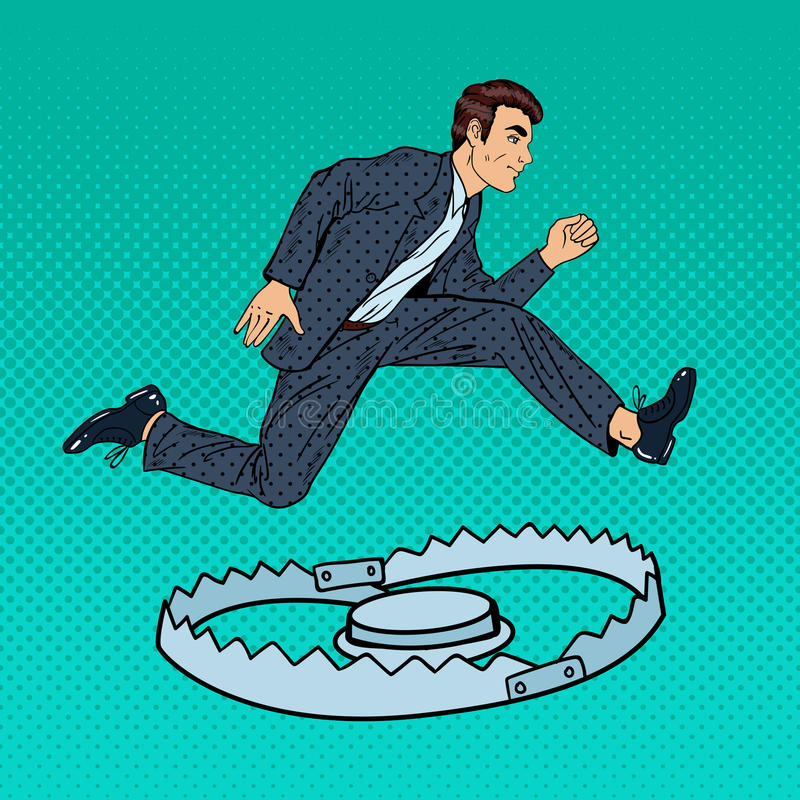Successful Businessman Jumping Over the Trap. Pop Art stock illustration