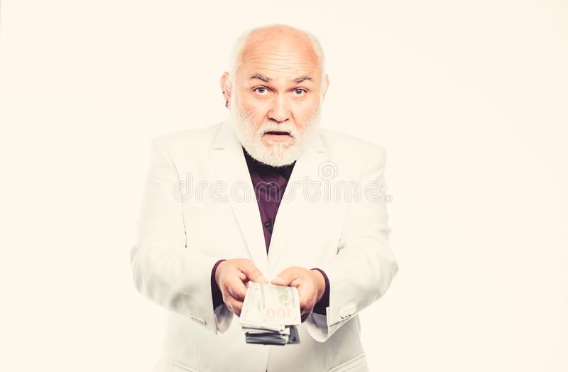 Successful businessman. mature bearded man with dollar banknotes. business success. Richness. retirement. Happy lottery royalty free stock images