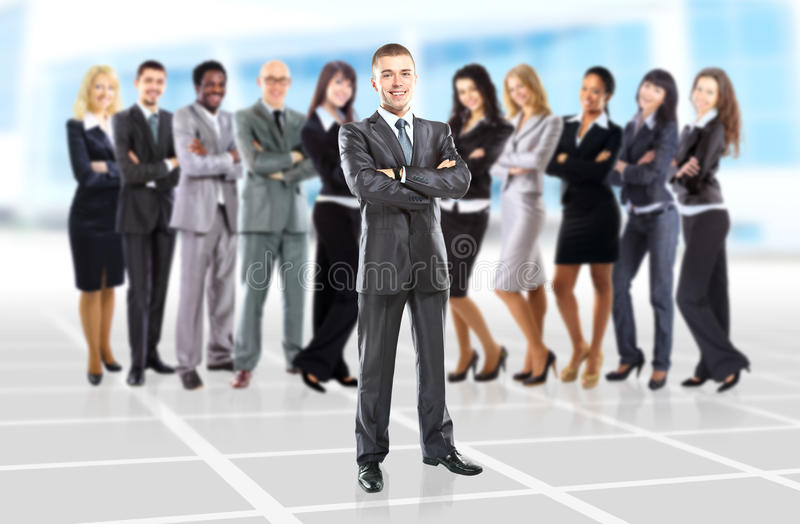 Businessman at the office leading a group