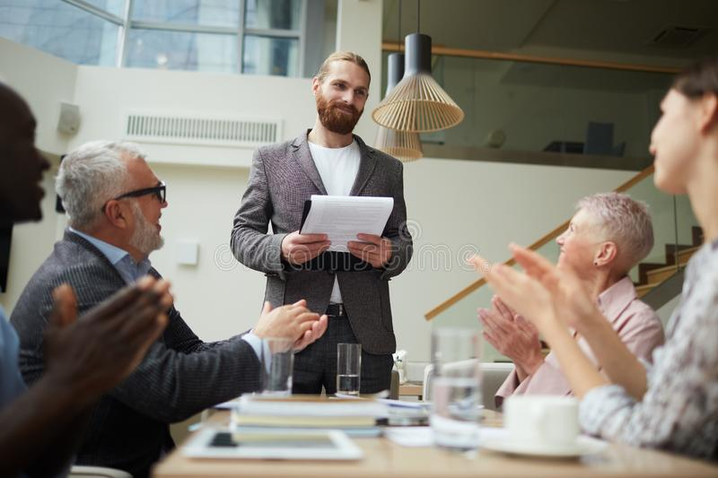 Successful Businessman Presenting Project stock photos